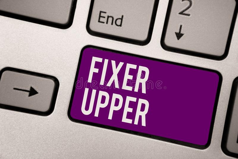 Conceptual hand writing showing Fixer Upper. Business photo showcasing house in need of repairs used chiefly connection with purch. Ase Keyboard purple key royalty free stock image