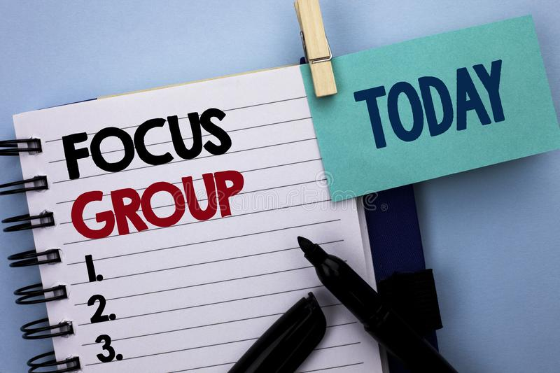 Conceptual hand writing showing Focus Group. Business photo text Interactive Concentrating Planning Conference Survey Focused writ royalty free stock photos