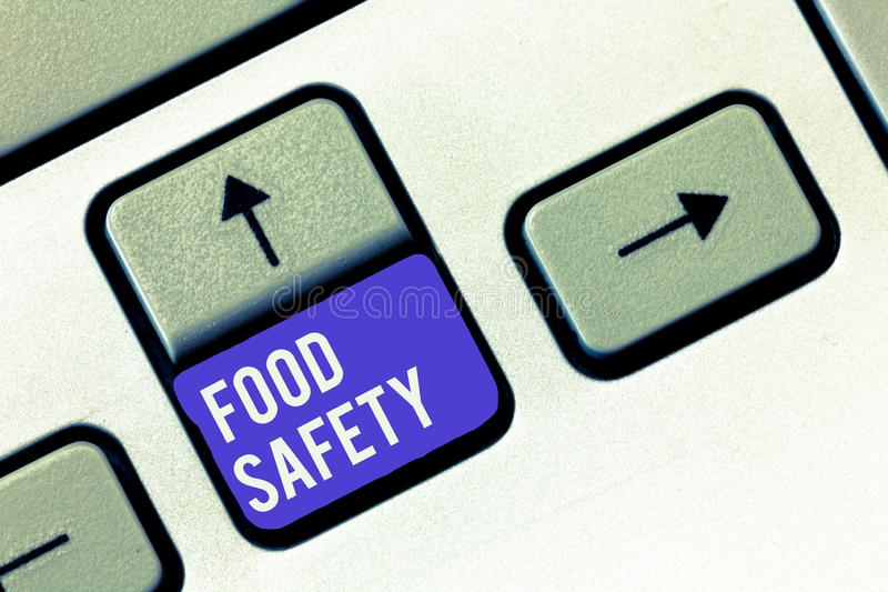 Conceptual hand writing showing Food Safety. Business photo showcasing Conditions and practices that preserve the. Quality of food royalty free stock images