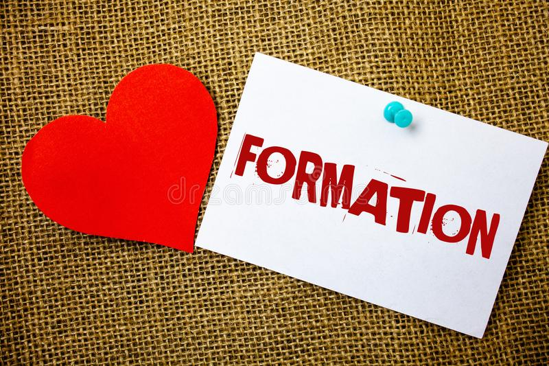 Conceptual hand writing showing Formation. Business photo text Body of rocks Particular Troops Parts disposition Forming process M. Essage note jute background royalty free stock images