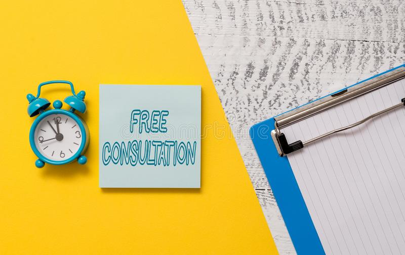 Conceptual hand writing showing Free Consultation. Business photo showcasing Giving medical and legal discussions. Conceptual hand writing showing Free royalty free stock photos