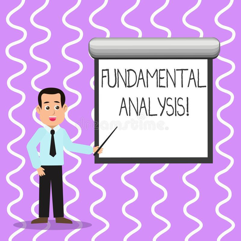 Conceptual hand writing showing Fundamental Analysis. Business photo text the analysis of a business s is financial. Conceptual hand writing showing Fundamental stock illustration