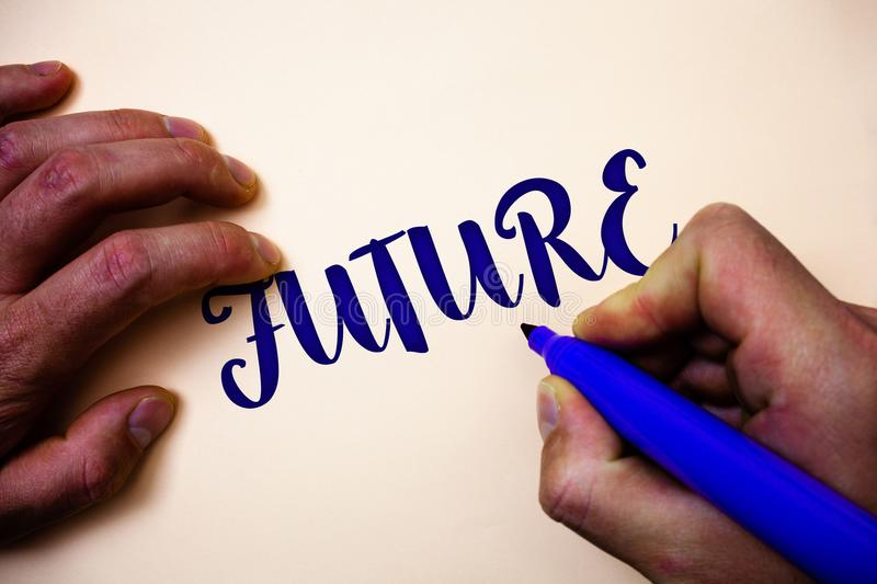 Conceptual hand writing showing Future. Business photo showcasing Period of time following the present moment Events that will hap. Pen Man holding blue marker royalty free stock photos