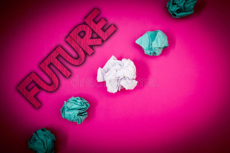Conceptual hand writing showing Future. Business photo text Period of time following the present moment Events that will happen Id. Eas messages pink background royalty free stock photos