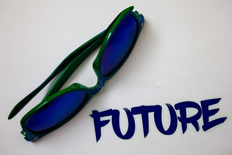 Conceptual hand writing showing Future. Business photo text Period of time following the present moment Events that will happen Id. Eas messages white background stock photography
