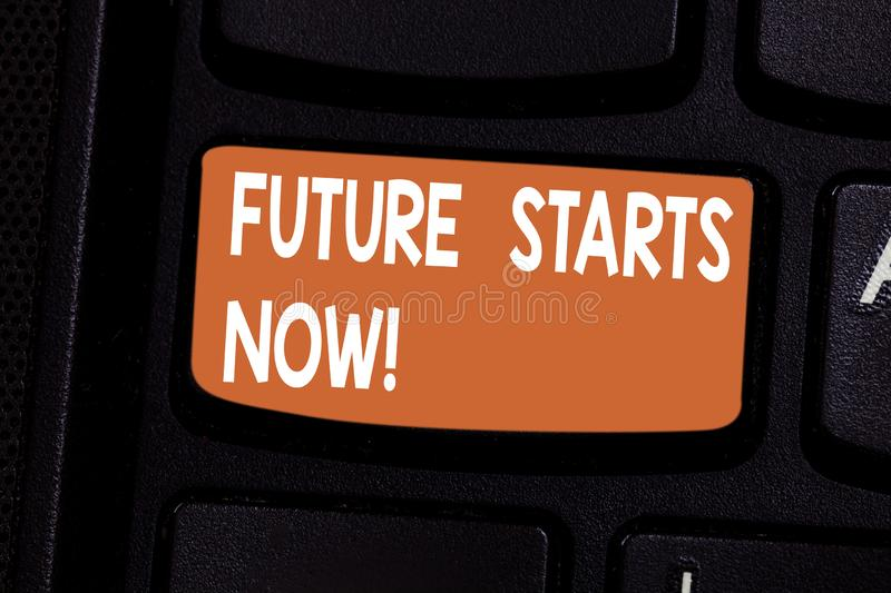 Conceptual hand writing showing Future Starts Now. Business photo showcasing encourage someone to start working from. This moment Keyboard key Intention to royalty free stock image