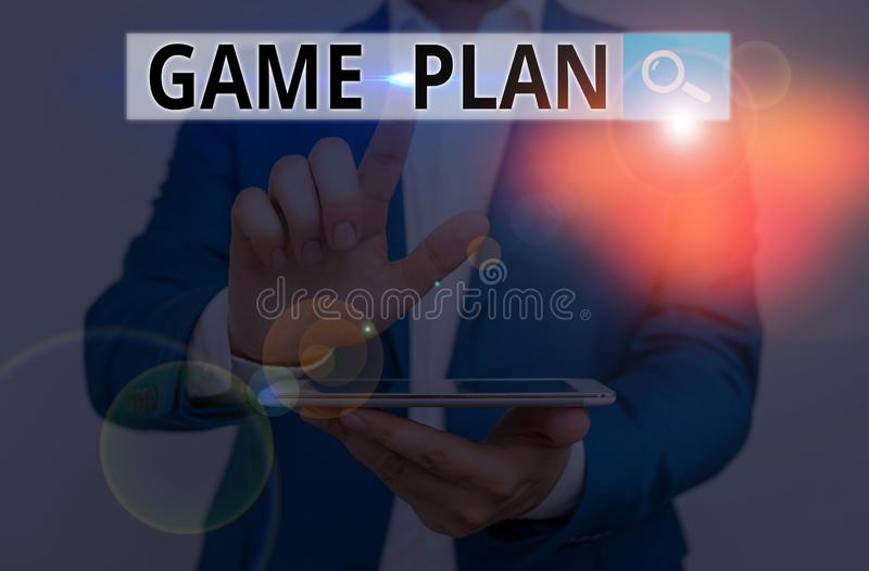 Conceptual hand writing showing Game Plan. Business photo showcasing strategy worked out in advance in sport politics or stock image