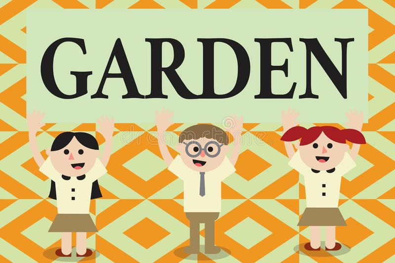Conceptual hand writing showing Garden. Business photo showcasing piece ground adjoining house used for growing flowers. Or vegetables royalty free illustration