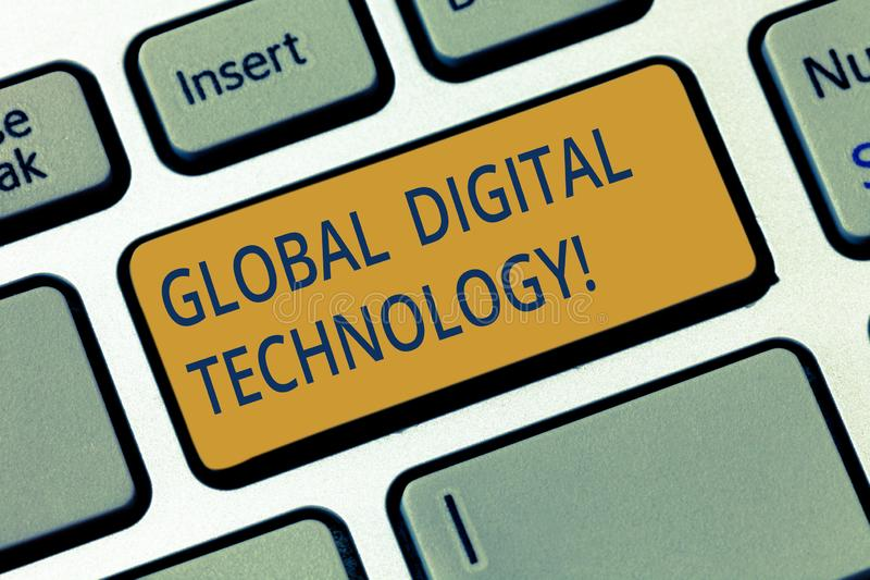 Conceptual hand writing showing Global Digital Technology. Business photo showcasing Digitized information in the form of numeric. Code Keyboard key Intention stock image