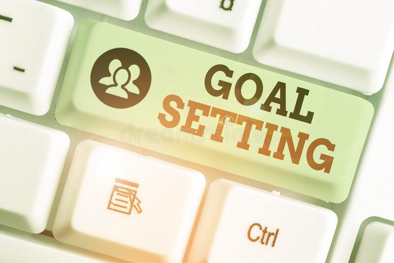 Conceptual hand writing showing Goal Setting. Business photo showcasing process of identifying something that you want to. Conceptual hand writing showing Goal royalty free stock photos
