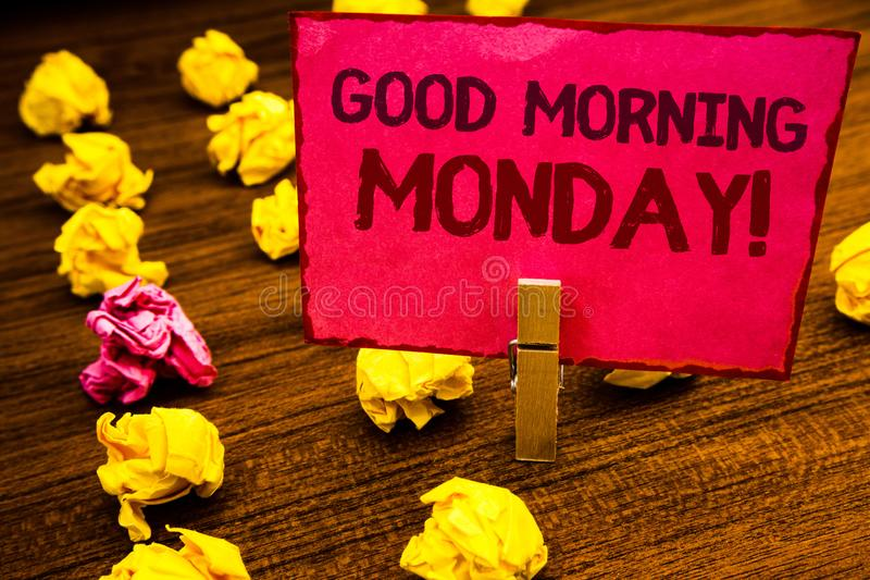 Conceptual hand writing showing Good Morning Monday Motivational Call. Business photo showcasing Happy Positivity Energetic Breakf. Ast Paperclip retrain pink royalty free stock images