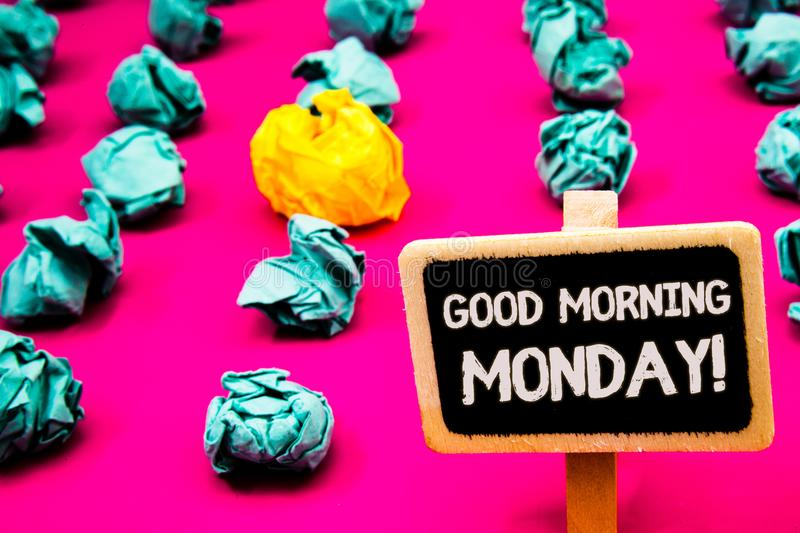 Conceptual hand writing showing Good Morning Monday Motivational Call. Business photo text Happy Positivity Energetic Breakfast Bl. Ackboard with white letter stock photo