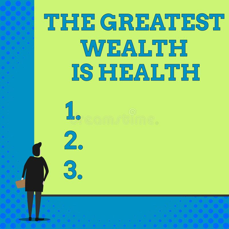 Conceptual hand writing showing The Greatest Wealth Is Health. Business photo showcasing Many sacrifice their money just. Conceptual hand writing showing The royalty free illustration