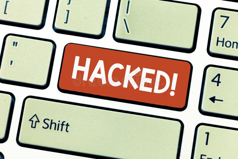 Conceptual hand writing showing Hacked. Business photo showcasing Gain unauthorized access to data in system or computer Cyber cri royalty free stock photography