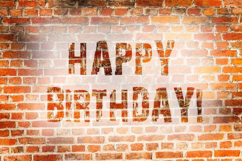 Conceptual hand writing showing Happy Birthday. Business photo showcasing Congratulations Celebrating Anniversary Brick royalty free stock images