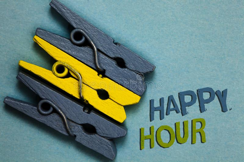 Conceptual hand writing showing Happy Hour. Business photo text Spending time for activities that makes you relax for a while Gray. Yellow vintage clothespins vector illustration
