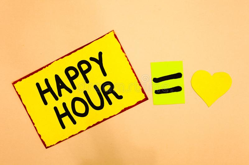 Conceptual hand writing showing Happy Hour. Business photo text Spending time for activities that makes you relax for a while Yell. Ow paper reminder equal sign vector illustration