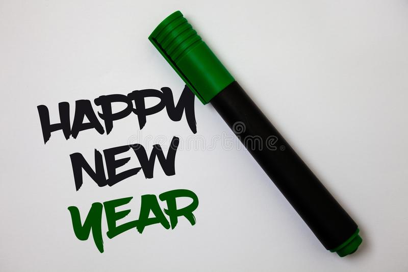Conceptual hand writing showing Happy New Year. Business photo text congratulations Merry Xmas everyone beginning of January White. Background marker pen lovely stock image