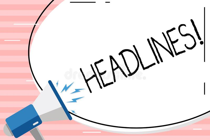 Conceptual hand writing showing Headlines. Business photo showcasing Heading at the top of an article in newspaper Blank. Conceptual hand writing showing stock illustration