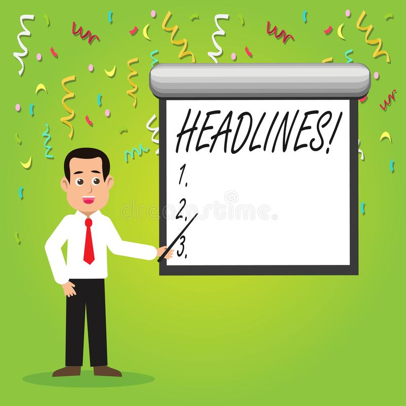 Conceptual hand writing showing Headlines. Business photo showcasing Heading at the top of an article in newspaper Man. Conceptual hand writing showing Headlines royalty free illustration