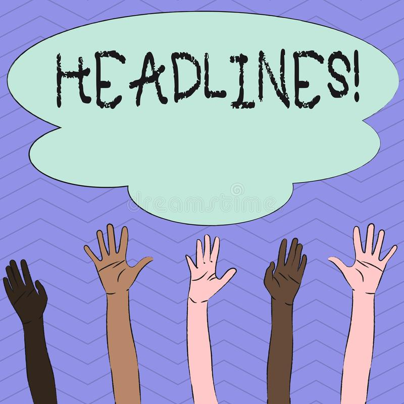 Conceptual hand writing showing Headlines. Business photo showcasing Heading at the top of an article in newspaper. Conceptual hand writing showing Headlines vector illustration