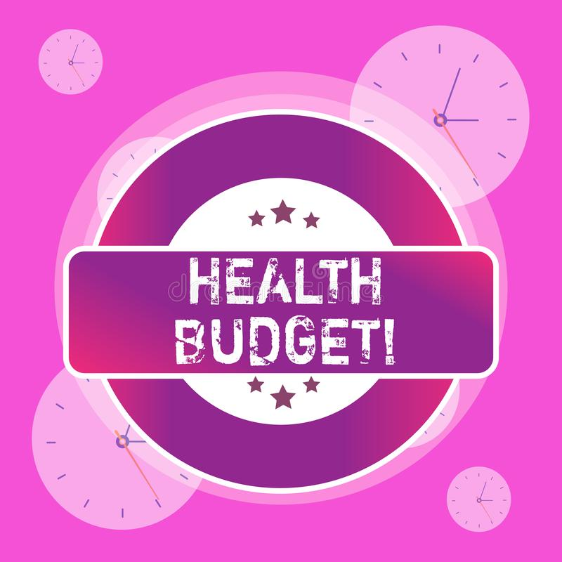 Conceptual hand writing showing Health Budget. Business photo text amount of money to support your health and wellbeing. Conceptual hand writing showing Health stock illustration