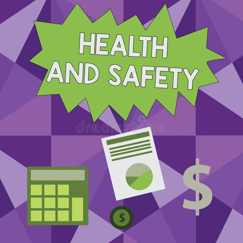 Conceptual hand writing showing Health And Safety. Business photo showcasing procedures intended to prevent accident in. Conceptual hand writing showing Health royalty free illustration