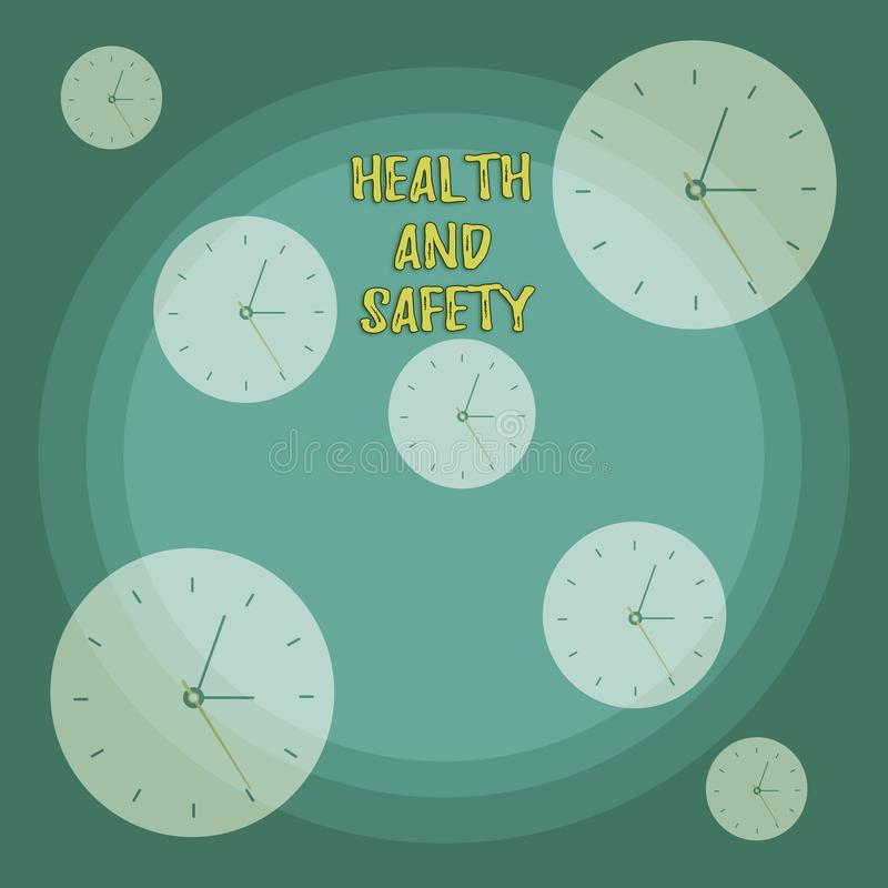 Conceptual hand writing showing Health And Safety. Business photo showcasing procedures intended to prevent accident in. Conceptual hand writing showing Health vector illustration