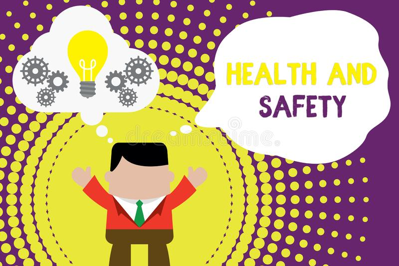 Conceptual hand writing showing Health And Safety. Business photo text procedures intended to prevent accident in. Conceptual hand writing showing Health And vector illustration