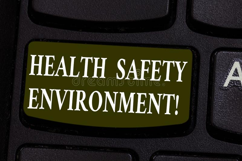 Conceptual hand writing showing Health Safety Environment. Business photo showcasing Environmental protection and safety at work. Keyboard key Intention to vector illustration