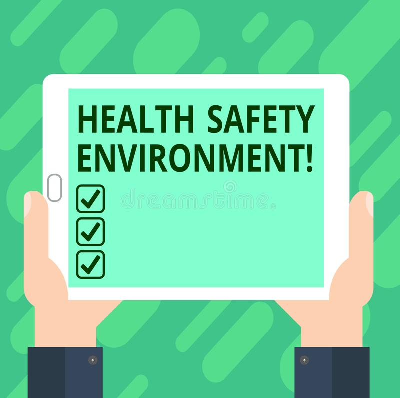 Conceptual hand writing showing Health Safety Environment. Business photo text Environmental protection and safety at work Hu. Analysis Hand Holding Tablet vector illustration