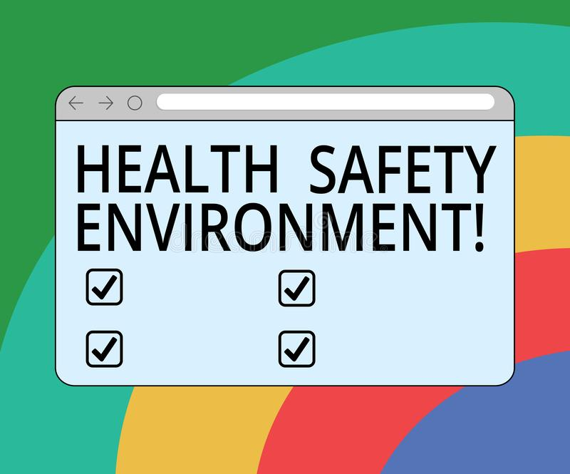 Conceptual hand writing showing Health Safety Environment. Business photo text Environmental protection and safety at work Monitor. Screen with Progress Control vector illustration