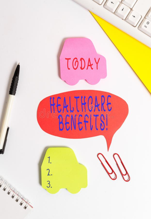 Conceptual hand writing showing Healthcare Benefits. Business photo showcasing monthly fair market valueprovided to. Conceptual hand writing showing Healthcare stock photo