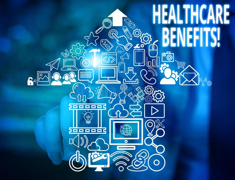 Conceptual hand writing showing Healthcare Benefits. Business photo text monthly fair market valueprovided to Employee. Conceptual hand writing showing stock photo
