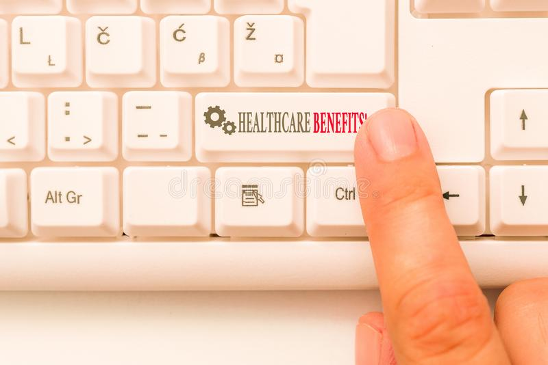 Conceptual hand writing showing Healthcare Benefits. Business photo text monthly fair market valueprovided to Employee. Conceptual hand writing showing royalty free stock photography