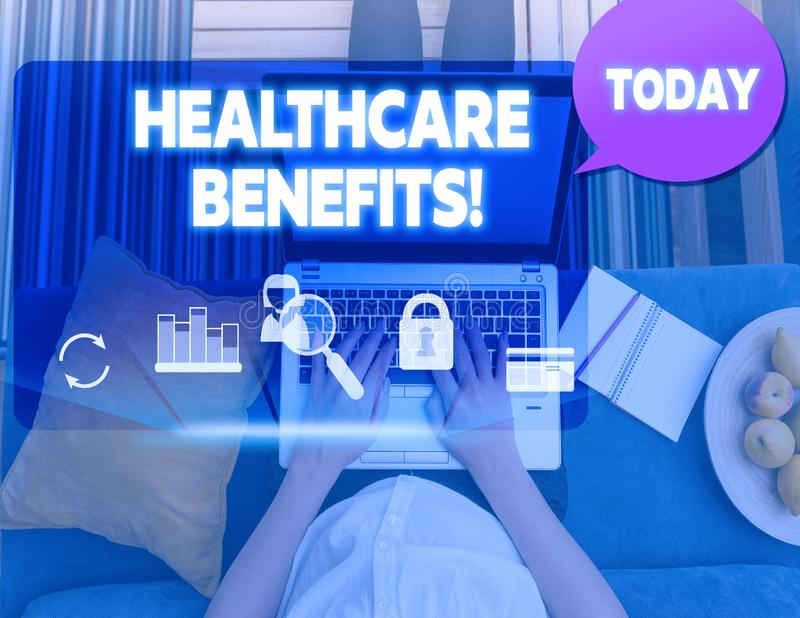 Conceptual hand writing showing Healthcare Benefits. Business photo text monthly fair market valueprovided to Employee. Conceptual hand writing showing royalty free stock photo