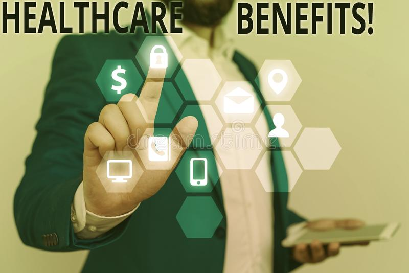 Conceptual hand writing showing Healthcare Benefits. Business photo showcasing monthly fair market valueprovided to. Conceptual hand writing showing Healthcare royalty free stock images