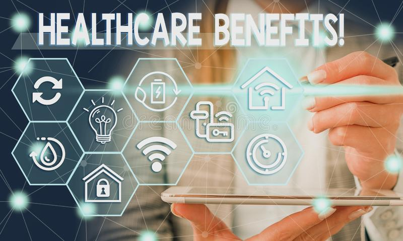 Conceptual hand writing showing Healthcare Benefits. Business photo showcasing monthly fair market valueprovided to. Conceptual hand writing showing Healthcare royalty free stock photos