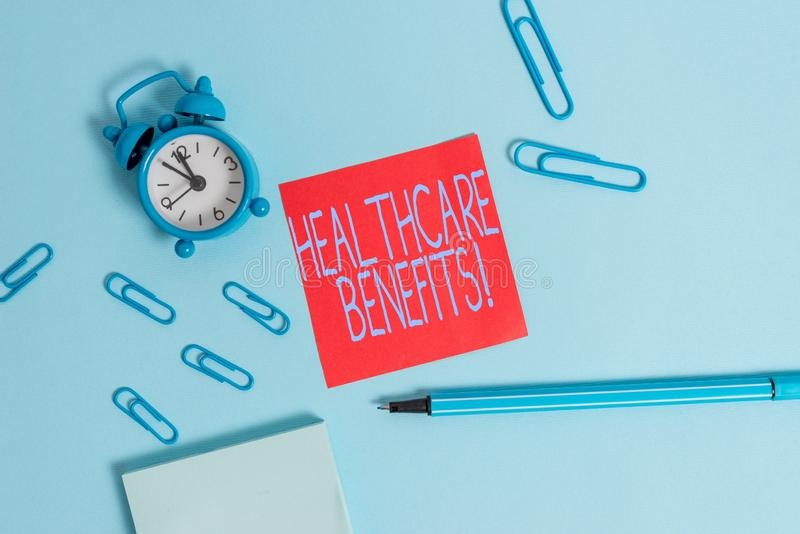 Conceptual hand writing showing Healthcare Benefits. Business photo showcasing monthly fair market valueprovided to Employee. Conceptual hand writing showing royalty free stock images