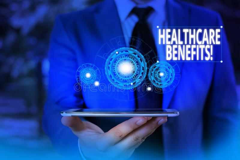 Conceptual hand writing showing Healthcare Benefits. Business photo showcasing monthly fair market valueprovided to. Conceptual hand writing showing Healthcare royalty free stock photo