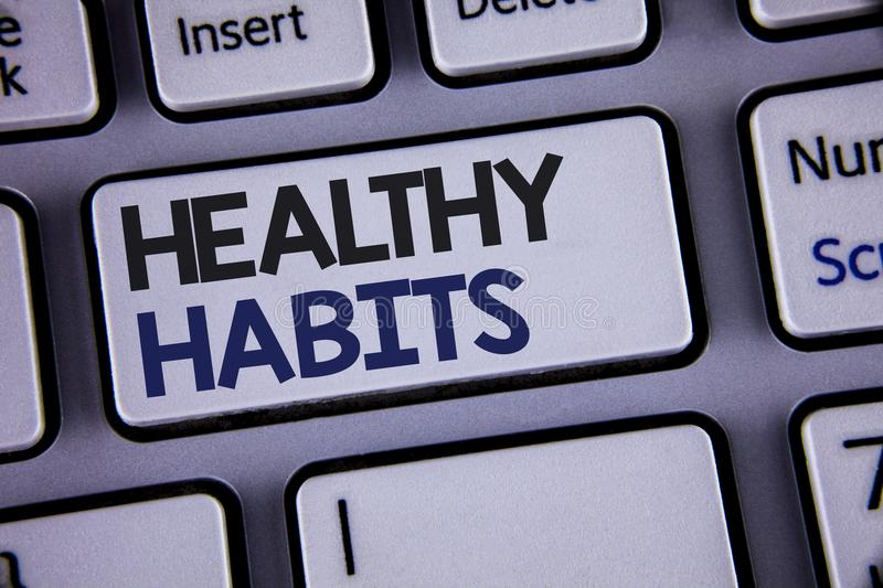 Conceptual hand writing showing Healthy Habits. Business photo showcasing Good nutrition diet take care of oneself Weight Control. Text two words backspace stock photos