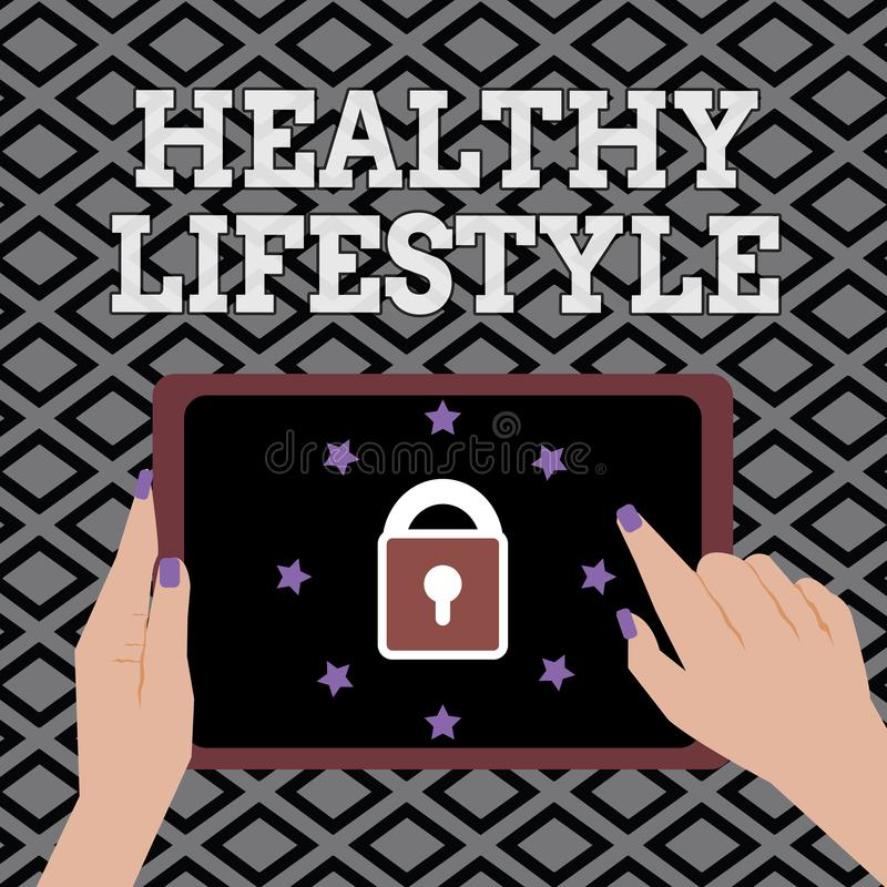 Conceptual hand writing showing Healthy Lifestyle. Business photo showcasing Live Healthy Engage in physical activity and exercise.  stock illustration