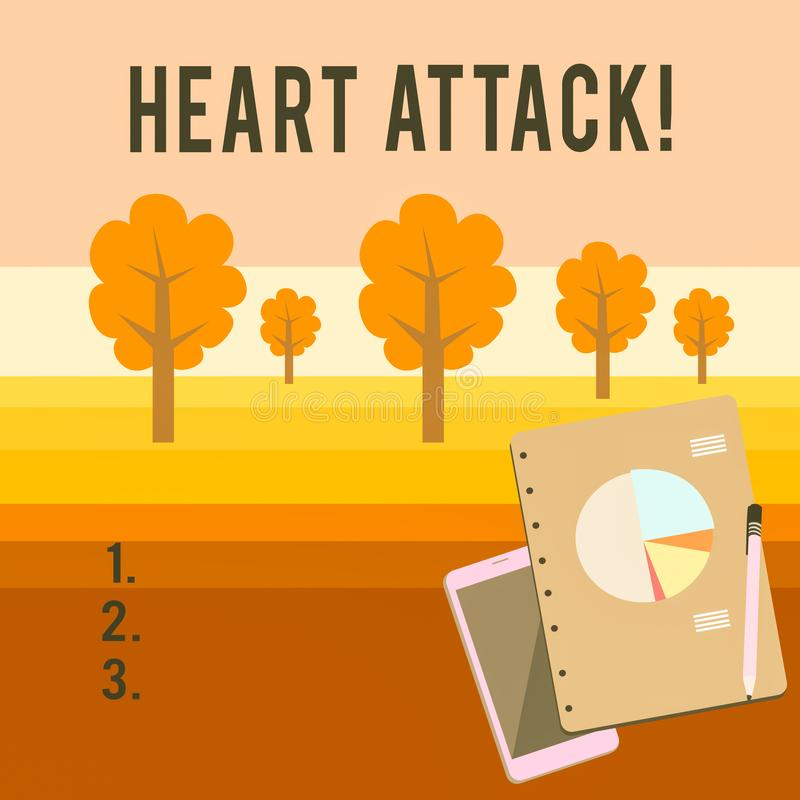 Conceptual hand writing showing Heart Attack. Business photo showcasing sudden occurrence of coronary thrombosis. Conceptual hand writing showing Heart Attack vector illustration