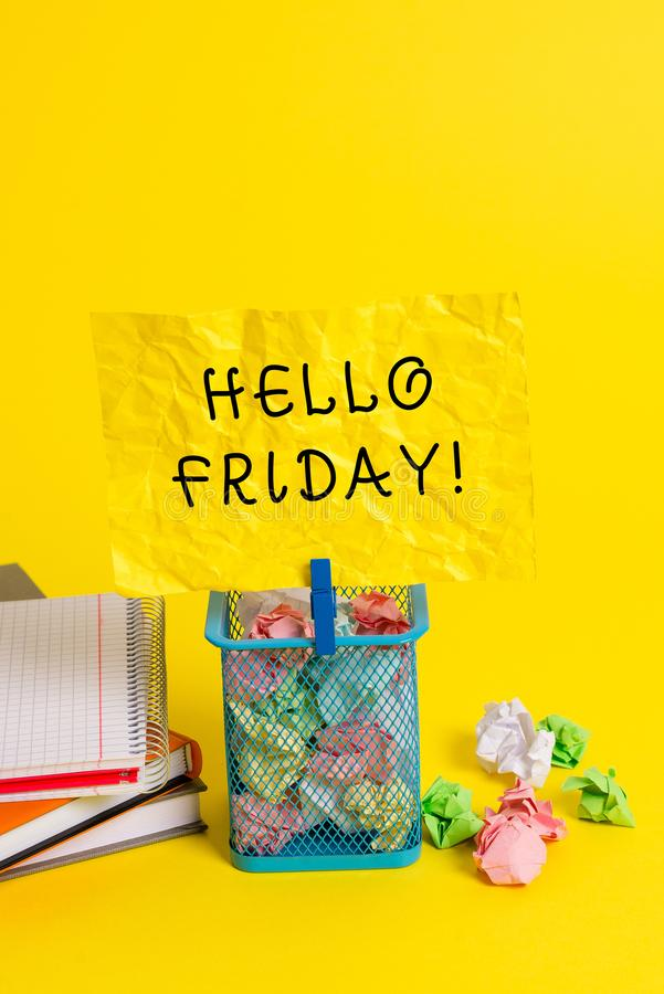 Conceptual hand writing showing Hello Friday. Business photo showcasing you say this for wishing and hoping another good. Conceptual hand writing showing Hello royalty free stock photo