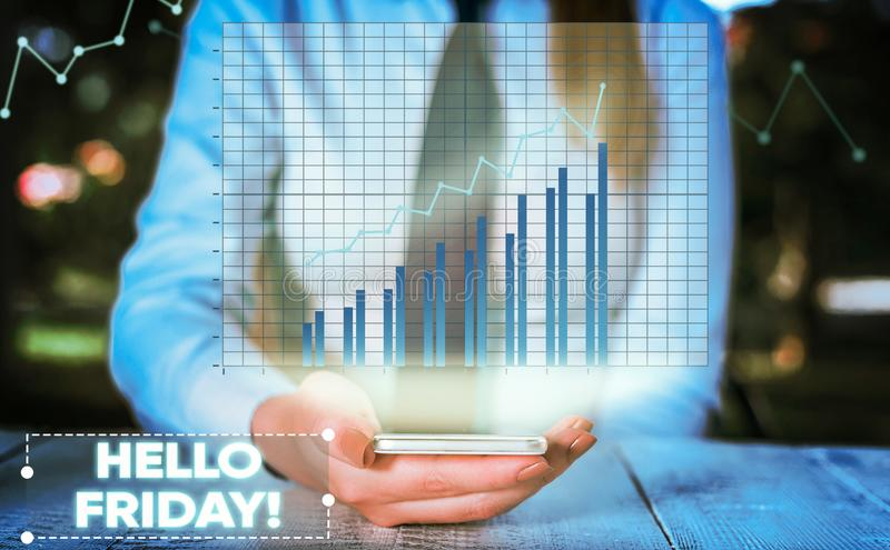 Conceptual hand writing showing Hello Friday. Business photo showcasing you say this for wishing and hoping another good. Conceptual hand writing showing Hello royalty free stock photos