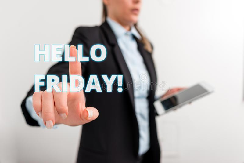 Conceptual hand writing showing Hello Friday. Business photo text you say this for wishing and hoping another good. Conceptual hand writing showing Hello Friday royalty free stock photos