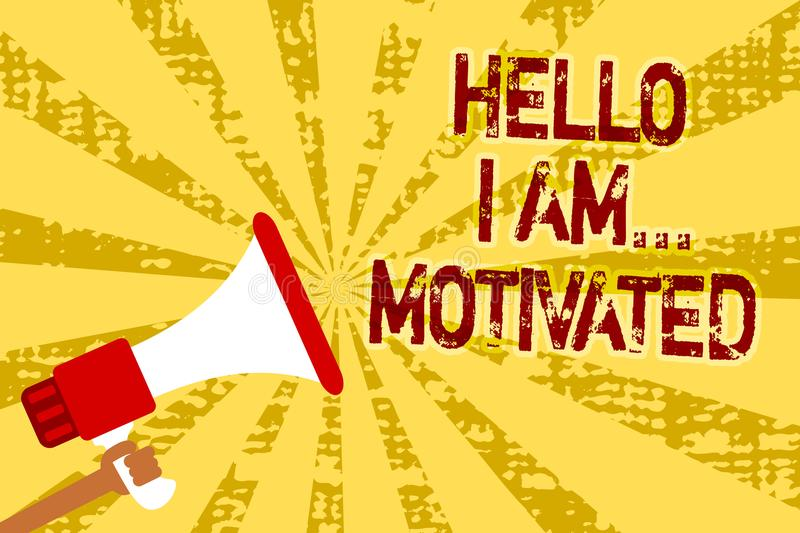 Conceptual hand writing showing Hello I Am... Motivated. Business photo text haivng inner sound to do more in work or life Man hol. Ding megaphone loudspeaker stock illustration