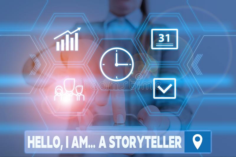 Conceptual hand writing showing Hello I Am A Storyteller. Business photo showcasing introducing yourself as novels. Conceptual hand writing showing Hello I Am A stock photo