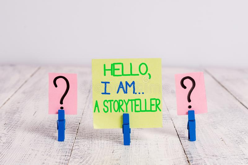 Conceptual hand writing showing Hello I Am A Storyteller. Business photo text introducing yourself as novels article. Conceptual hand writing showing Hello I Am stock photo