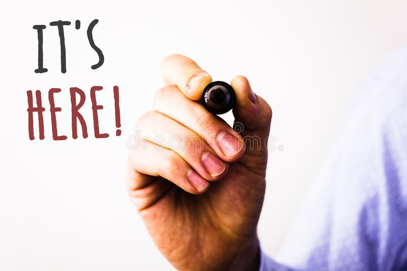 Conceptual hand writing showing It Is Here Motivational Call. Business photos text Present in this moment Thing or place foundMan. Conceptual hand writing stock images